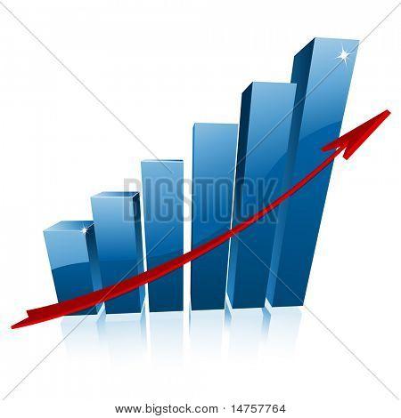 3d business graph vector illustration