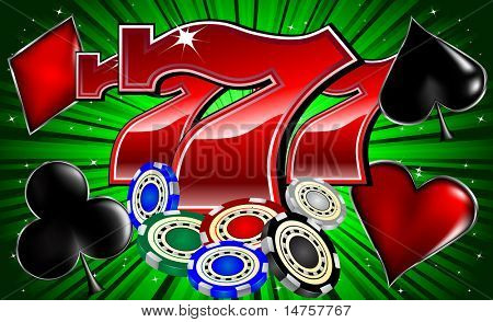 casino chips poker signs and lucky seven font vector illustration poster