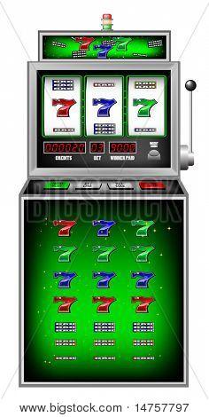 lucky seven slot machine vector illustration