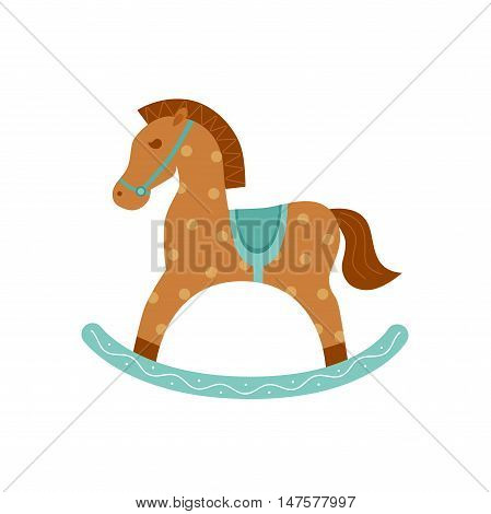 Vector horse toy silhouette illustration. Concept of wooden horse toy. Wood rocking horse icon isotated for your design. Shape of horse toy isolated.