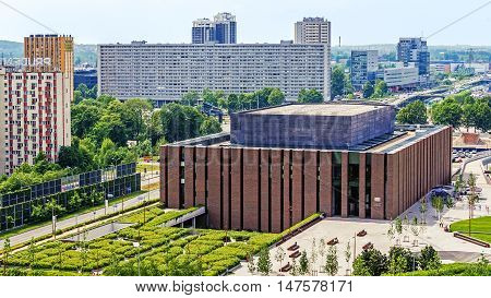 KATOWICE, POLAND - MAY 27, 2016: Seat of the Polish National Radio Symphony Orchestra in Katowice. The orchestra founded in 1935 is one of Poland's premier musical institutions.