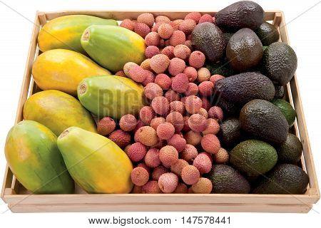 Mix exotic fruit avocado litchi mango in a box raw food