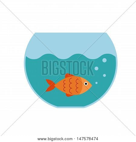 Aquarium fish  flat icon. Vector aquarium fish  silhouette illustration. Colorful cartoon flat aquarium fish icon for your design.