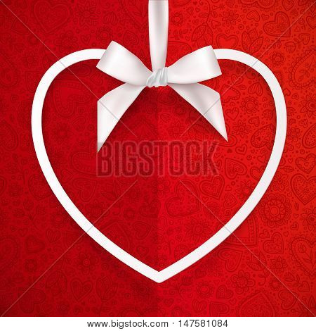 White vector heart shape frame hanging on silky ribbon with bow at redd doodles background, greeting card template