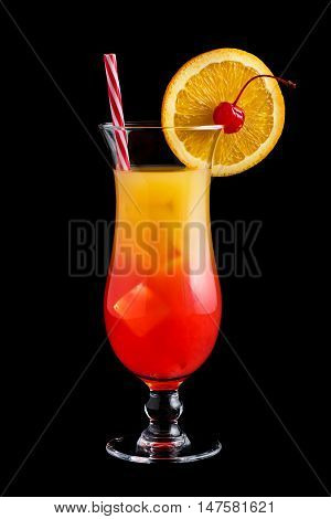 Tequila Sunrise Cocktails On Black Background