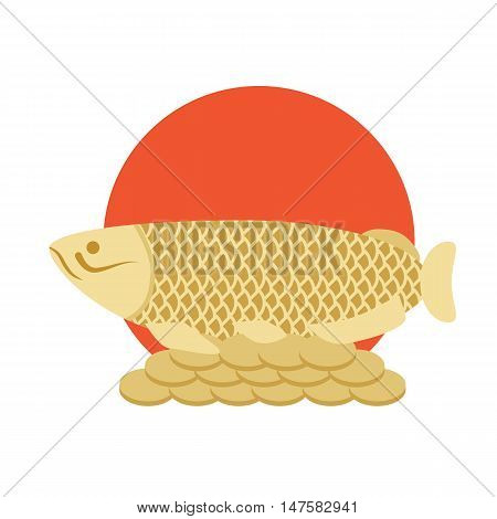 Goldfish Feng Shui with coins - Asian symbol of wealth and good luck. Red sun and fish vector illustration. Feng Shui symbol.