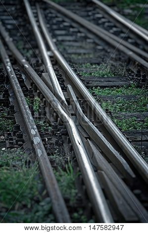 Railway junction. Railroad tracks in black background with grass. Tilt Shift filter was applied.