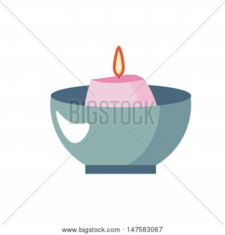 Scented candle, aromatherapy vector icon, flat cartoon illustration design. Pink candle in bowl. Relaxation icon. Funeral candle, mourning
