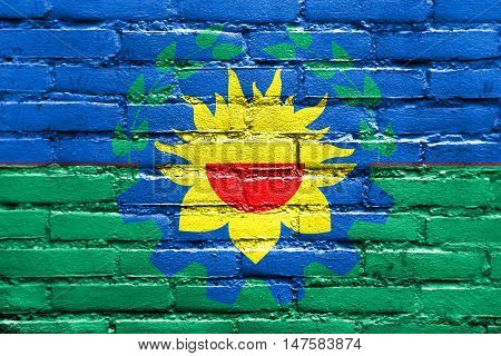 Flag Of Buenos Aires Province, Argentina, Painted On Brick Wall