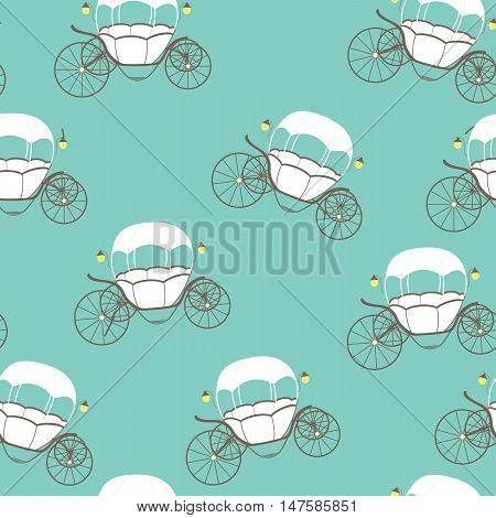 Princess Cinderella Fairytale Carriage. Seamless Pattern. Vector Illustration. EPS10