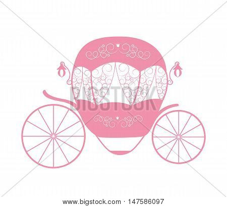 Pink Princess Cinderella Fairytale carriage. Vector Illustration. EPS10