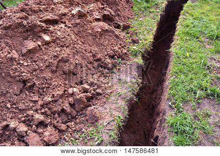 Ditch in the clay soil meadow in farm