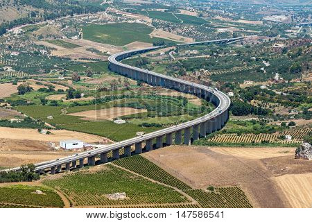 Curved highway seen near Segesta in Sicily