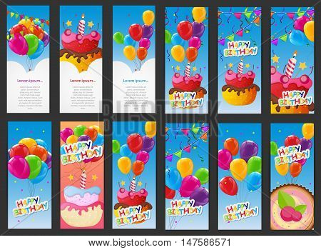 Happy Birthday Card Template with Balloons, Cake with Candle Vector Illustration EPS10