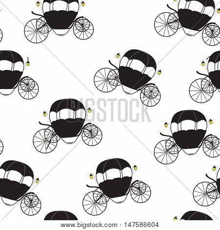 Princess Cinderella Fairytale Carriage. Seamless Pattern. Vector Illustration. EPS10