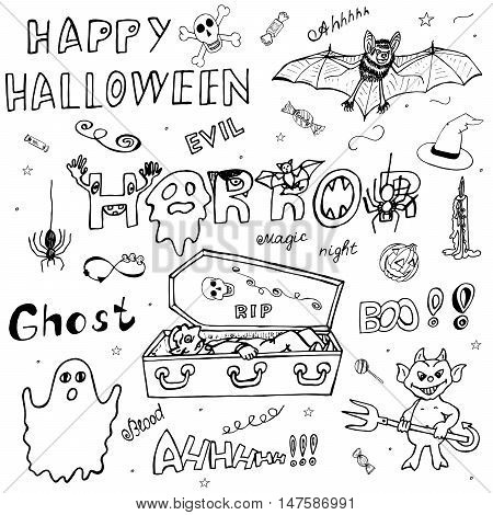 Happy Halloween. Hand Drawn Icons set. Ideal Composition Itemized Sketch for design. The Designation collection of elements, signs, symbols about Horror. Free-hand Art Doodles. Vector illustration.