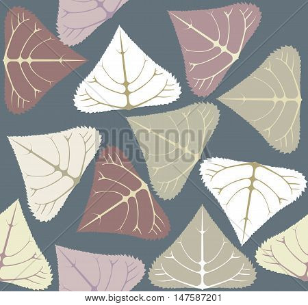 Seamless Pattern with populus leaves. Stylish Template for design fabric, covers and wrapping paper.