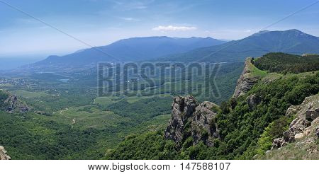 Crimea. Beautiful view from the mountain Demerdzhi Valley of ghosts