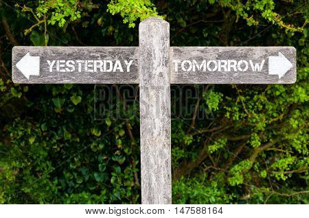 Yesterday Versus Tomorrow Directional Signs