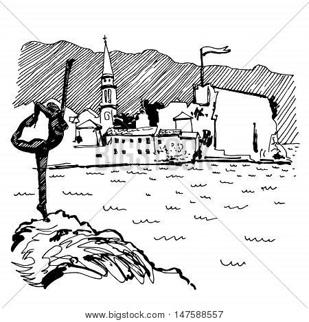 black and white sketch drawing of Budva Montenegro top view with famous skulpture and old town tower, vintage touristic postcard, travel vector illustration