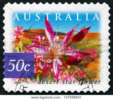 AUSTRALIA - CIRCA 2002: a stamp printed in Australia shows Desert Star Flower Calytrix Carinata Flowering Shrub circa 2002