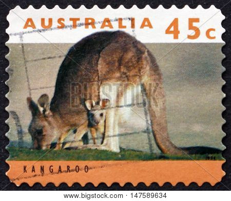 AUSTRALIA - CIRCA 1994: a stamp printed in Australia shows Adult Kangaroo with Joey circa 1994