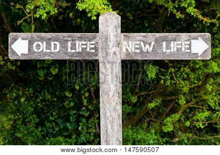 Old Life Versus New Life Directional Signs
