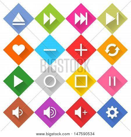 Flat media icon 16 set rounded rhombus web button on white background. Simple minimalistic mono long shadow style. Vector illustration internet design graphic element 10 eps