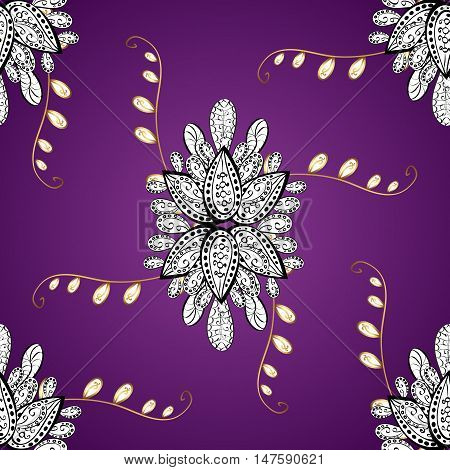 Vector pattern on lilac gradient background with golden flowers. Violet goden white.