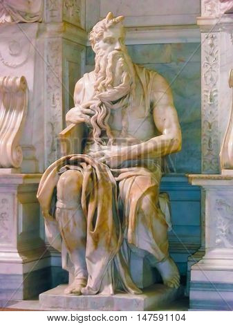 Rome, Italy - May 02, 2014: The statue of Moses sculpted by Michelangelo is visited daily by crowd of tourists in the San Pietro in Vincoli church