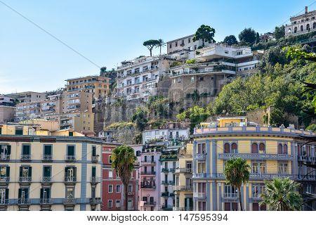 Naples, Italy - October 4, 2015. Building In Naples Near Seafront Francesco Caracciolo.