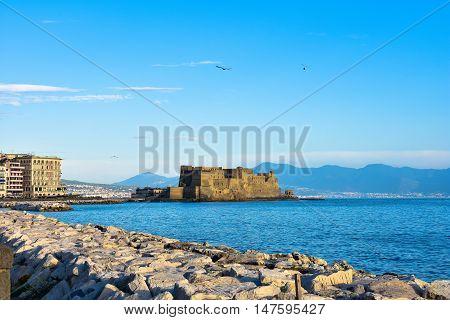 Naples, Italy - October 4, 2015. Panoramic View Seafront Francesco Caracciolo.