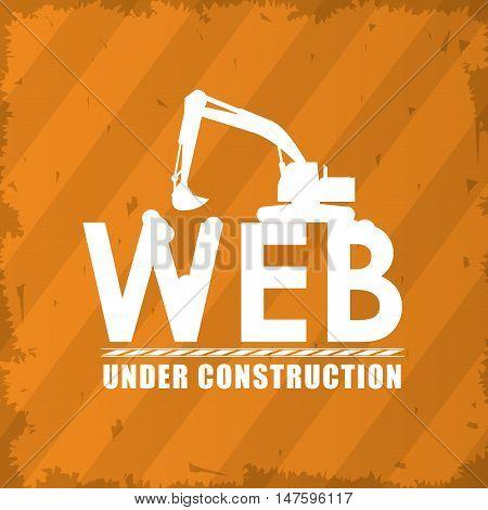 Hydraulic excavator icon. Under construction and repair theme. grunge design. Vector illustration
