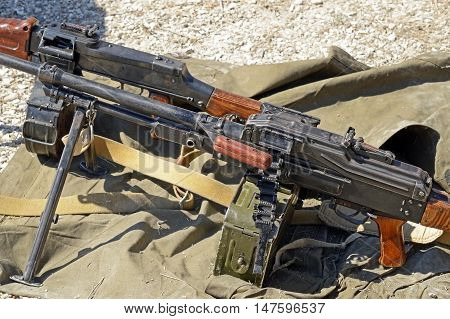 the old russian PK Machine gun Kalashnikov