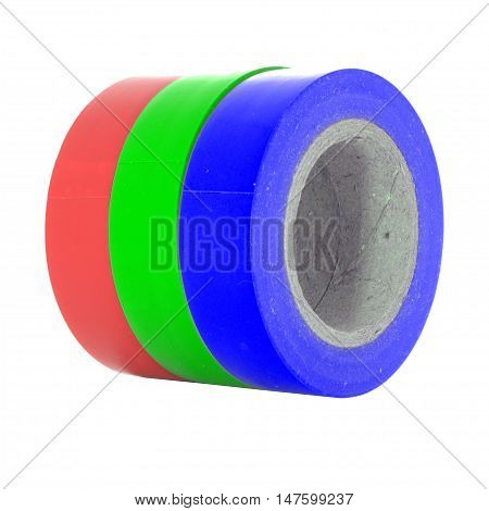 Red green blue RGB insulating tape coils isolated on white background