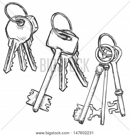 Vector Set Of Three Sketch Keys Bunchs