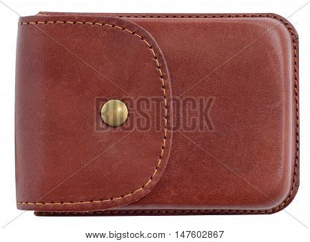 Luxury business card holder case made of leather. Brown Leather box for cards isolated on white background.