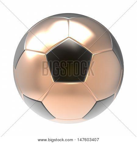 Bronze Soccer ball 3D render isolated on white