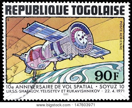 TOGO - CIRCA 1981 : Cancelled postage stamp printed by Togo, that shows Space ship.