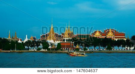 View beautiful Phrakaew temple on river foreground