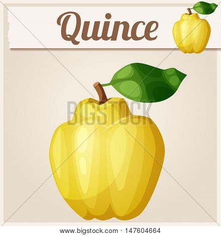 Quince fruit. Cartoon vector icon. Series of food and drink and ingredients for cooking.