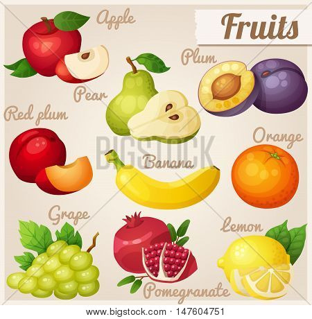 Fruits. Red apple, pear, violet plum, red plum, banana, orange, grape, pomegranate, lemon