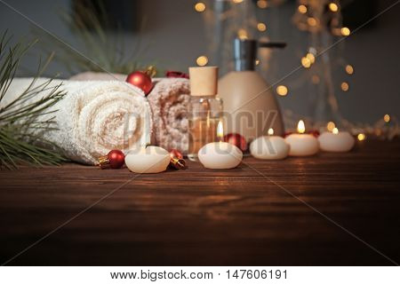 Christmas spa set on wooden table