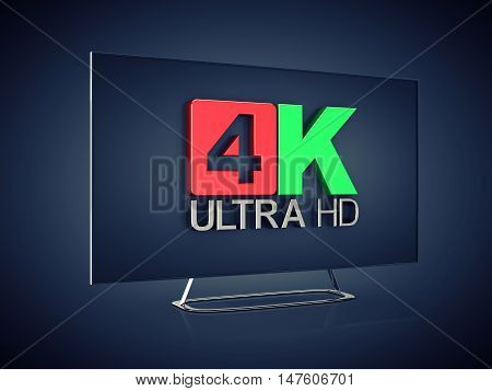4K Ultra HD screen tv on dark background Ultra High Definition display , 3d illustration