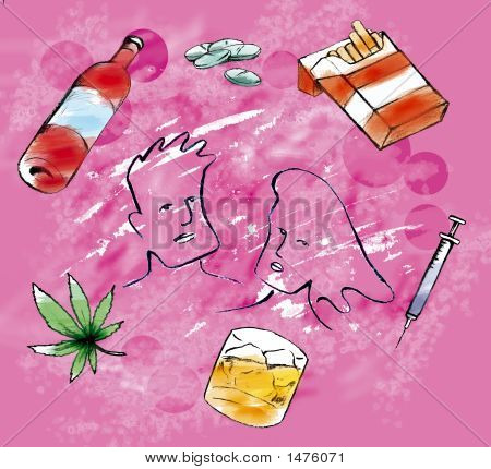 Drug Related Items With Pink Background