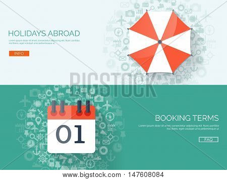 Flat travel background. Summer holidays, vacation. Plane, boat, car traveling. Tourism, trip, journey.