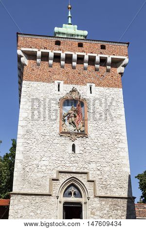 Florian Gate in Old Town Krakow Poland