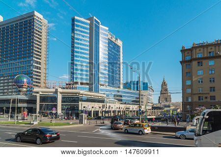 Moscow, Russia -03 June 2016. View of the Novy Arbat, Lotte Hotel and a Novinsky Boulevard