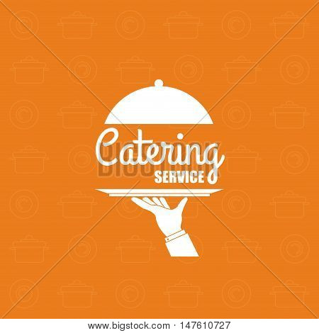 Plate and hand icon. Catering service restaurant and menu theme. Vector illustration