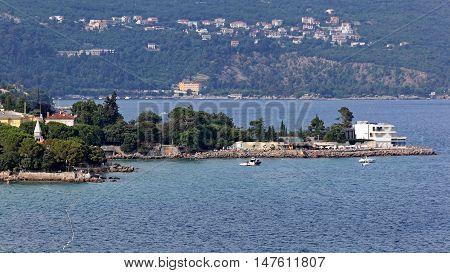 Adriatic Sea Coast Islet at Opatija Croatia